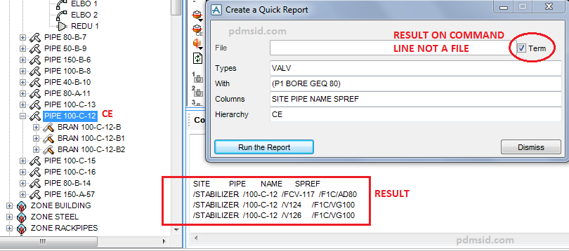 Introduce Using Aveva PDMS Quick Report Result
