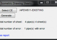 PDMS isometric drawing sheets user interface